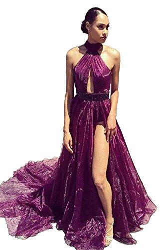 Sexy Halter Long Keyhole Slit Dressylady With Purple A Prom Organza Line Dress dtgHaq
