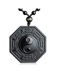 Kitch Aroma Natural Tai Chi Engraving Black Obsidian Crystal Stones Pendant Necklace with Extend Bead Chain for Men or Women
