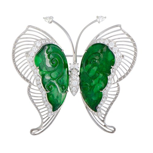 Luxury Bazaar 18K White Gold Diamond and Jade Large Butterfly Brooch