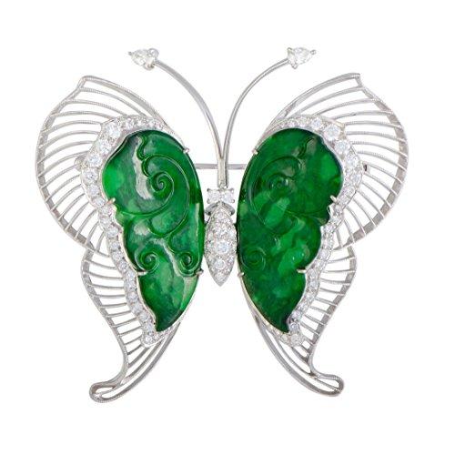 Luxury Bazaar 18K White Gold Diamond and Jade Large Butterfly Brooch (Diamond Pin Butterfly Brooch)