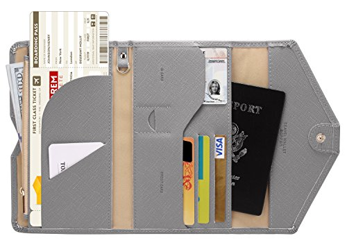 Zoppen Mulit-purpose Rfid Blocking Travel Passport Wallet (Ver.4) Tri-fold Document Organizer Holder, Grey