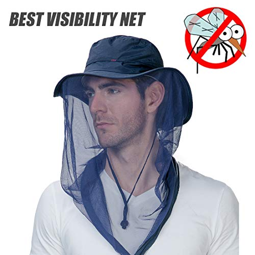 Fancet Mens Anti Mosquito Insect Bug Net Safari Sun Outdoor Protection Fishing Bonnie Waterproof Hat Bucket Blue