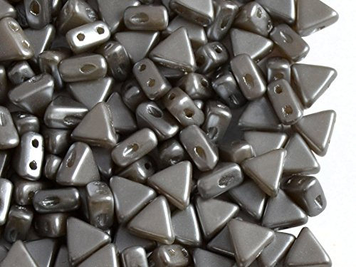 50pcs Kheops Par Puca Beads - Czech Pressed Glass Beads of Triangular Shape, with Two Holes, 6 mm, Pastel Light Grey Silver Czech Pressed Glass Beads