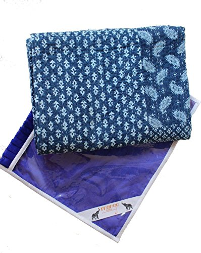 India Patchwork Art (KANTHA EXPORT NEW LAUNCH Indigo Color Hand Block Printed Kantha Quilt Throw, Patchwork Cotton Bedspread Queen Size)