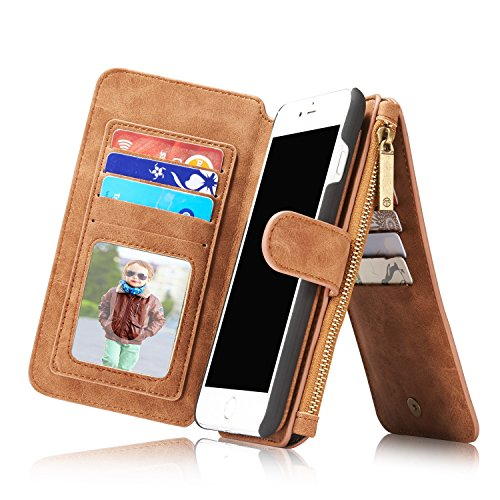 IPhone 7 plus Case, CaseMe Flip Genuine Leather Wallet Card Slots Bag case Phone Cover for Apple iPhone 7 Plus 5.5inch (Brown)