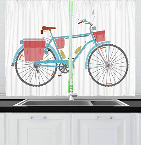 Ambesonne Bicycle Kitchen Curtains, Classic Touring Bike with Derailleur and Saddlebags Healthy Active Lifestyle Travel, Window Drapes 2 Panel Set for Kitchen Cafe, 55 W X 39 L Inches, Multicolor