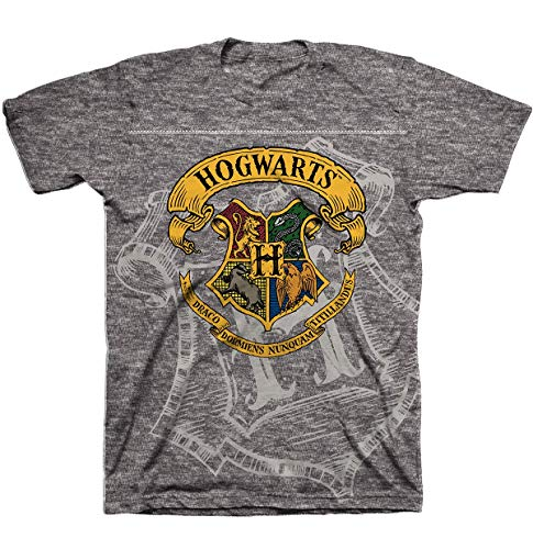 HARRY POTTER Hogwarts Crest Boy Short Sleeve Graphic Tee T-Shirt - Med.Gray Heather/Size: 5/6