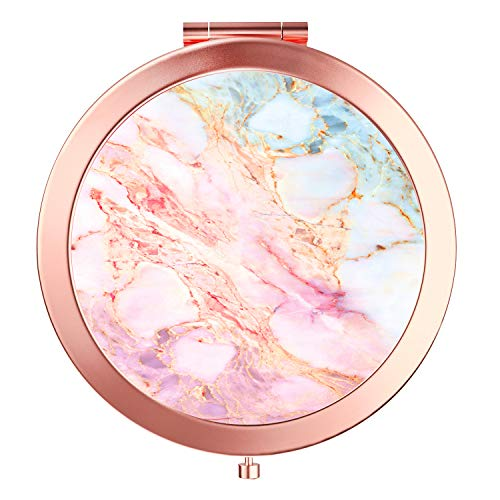 (Imiao Makeup Mirror Rose Gold Compact Mirror Portable Hand Mirror Round Mini Pocket Mirror With 2 x 1x Magnification For Woman,Mother,Girls,Great Gift (Marble))