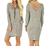 Lightning Deals Loose Dress,ZYooh Women Casual Solid Backless Pocket Long Sleeve Loose Above-Knee Dress (gray, S)