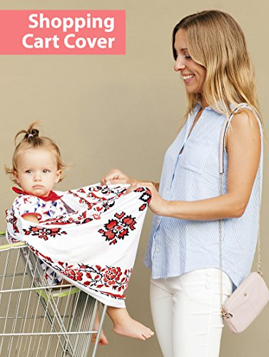 Floral Nursing Cover Carseat Canopy / 1 Breastfeeding Cover and 2 Nursing Pads and 1 Carry Bag / Multi Use Baby Car Seat, Stroller, Shopping Cart Covers for Girls and Boys by Belle Joelle by Belle Joelle (Image #7)