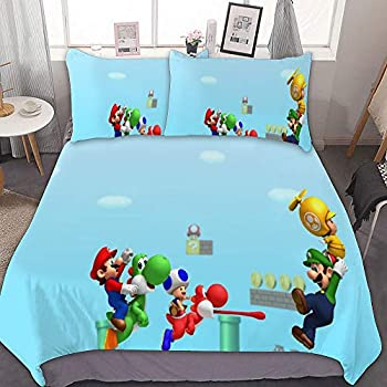 Luigi Mario Bros Video Games,Sheet Set 3 Piece Bed Sheets,Ultra Soft Microfiber Unisex Bedding Set Modern Pattern Printed,Full//Queen