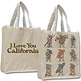 NINE BEARS TOTE Shopper Bag Canvas I Love You California Large Jumbo Beige