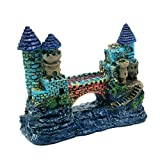 Dimart Blue Medieval Castle Hand Painted Detailed Aquarium Ornaments Decoration for Fish Tank(Contian of A Gift-High Imitation Lionfish Landscaping Ornament)