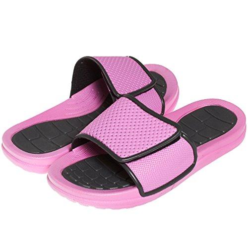 Price comparison product image Barehugs Girls Rugged Velcro Closure Slide Sandals Grey/Pink 13/1 US Little Kid
