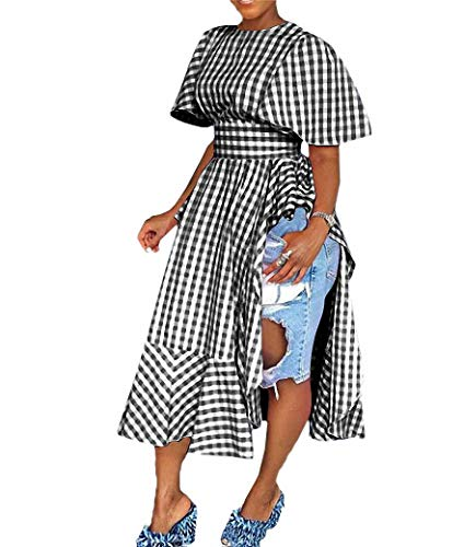 Remelon Womens Casual Short Sleeve Plaid Print Pleated Ruffle Tunic Side Split Long Maxi Blouse Top Dress Black L ()