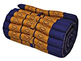 Noinoi@roll up Thai Mattress Kapok (small, Yellow-Blue)