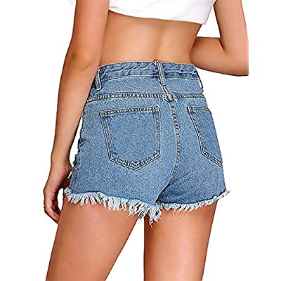 LookbookStore Women's Mid Rise Frayed Ripped Raw Hem Denim Jean Shorts: Clothing