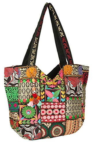 (Women Large Shoulder Bag Tote Woven Embroidered Beach Fashion Boho Hippie Unique Laptop School Everyday Casual (Black))