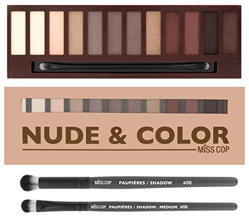 Nude Eyeshadow Makeup Palette - 12 Natural Colors Matte + Shimmer Eye Shadows - High Pigment Neutral Cosmetic pallet