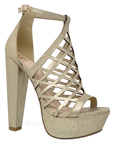 MVE Shoes Women's Block Heel Open Toe Ankle Strap Platform Pumps-Shoes, Gold Size -