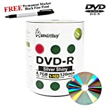 Smartbuy 100-disc 4.7GB/120min 16x DVD-R Shiny Silver Blank Media Record Disc + Black Permanent Marker