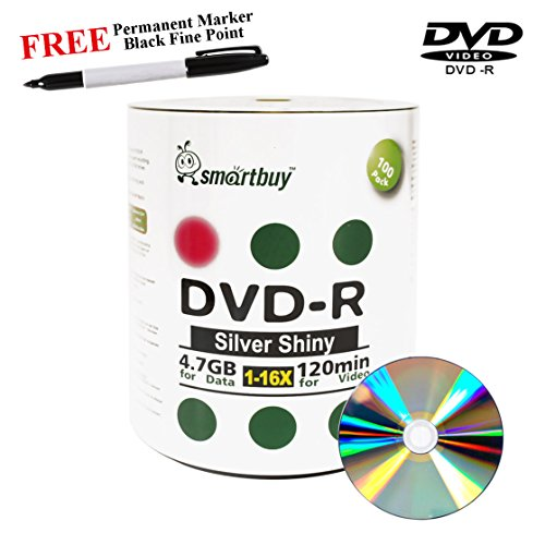 Smartbuy 100-disc 4.7GB/120min 16x DVD-R Shiny Silver Blank Media Record Disc + Black Permanent Marker by Smartbuy