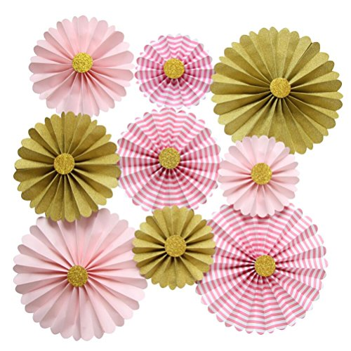 - Mybbshower Pink Gold Paper Rosettes Flower Wall for Girl Baby Shower Birthday Party Hanging Living Room Decorations Pack of 9