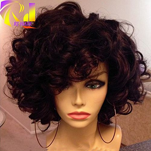 RJ HAIR 180 Density Short Bouncy Curly Human Hair Lace Wigs Brazilian Virgin Human Hair Full Lace Wigs With Bangs For Black Women (10inch 180 density, (Bouncy Hair Wig)