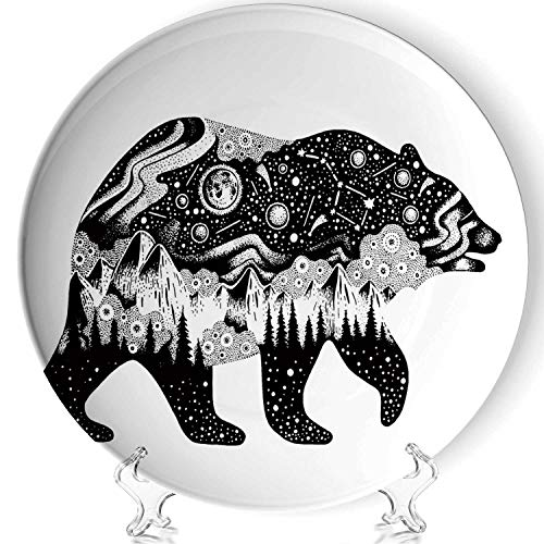 YOLIYANA Bear Silhouette for t Shirt Print or Temporary Tattoo Porcelain Plates Ceramic Decorative Plates,Hand Drawn Surreal Design for Apparel,8 Inch