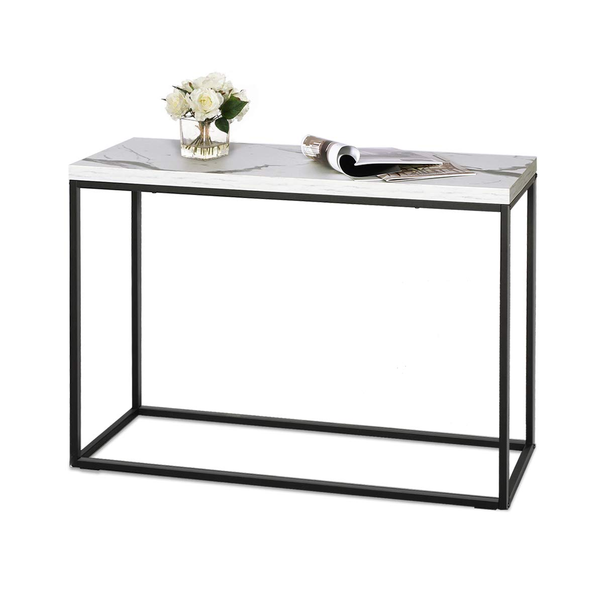 WLIVE Modern Console Table for Entryway, Faux Marble Print Top Narrow Foyer Hall Table with Metal Frame