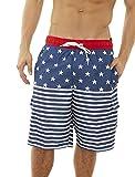 Beverly Hills Polo Club Men's Bathing Suit Swim Trunk, Navy/Star Stripes, Medium'
