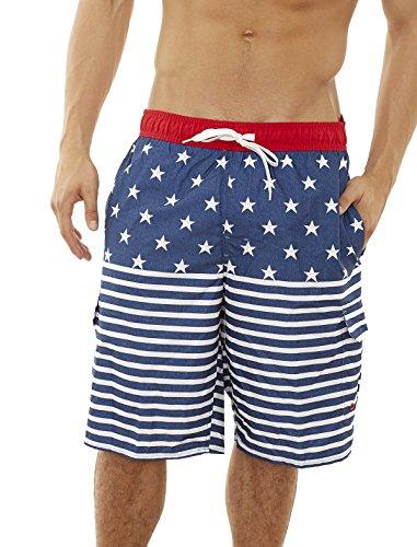 Star Trunk - Beverly Hills Polo Club Men\'s Bathing Suit Swim Trunk, Navy/Star Stripes, Medium'