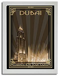 Address Hotel Down Town- Sepia With Gold Border F03-m (a1) - Framed