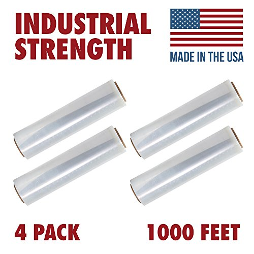 18 X 1000 Tough Pallet Shrink Wrap, 80 Gauge Industrial Strength Plastic Film, Commercial Grade Strength Film, Moving & Stretch Packing Wrap, For Furniture, Boxes, Pallets (4-Pack) from Ox Plastics