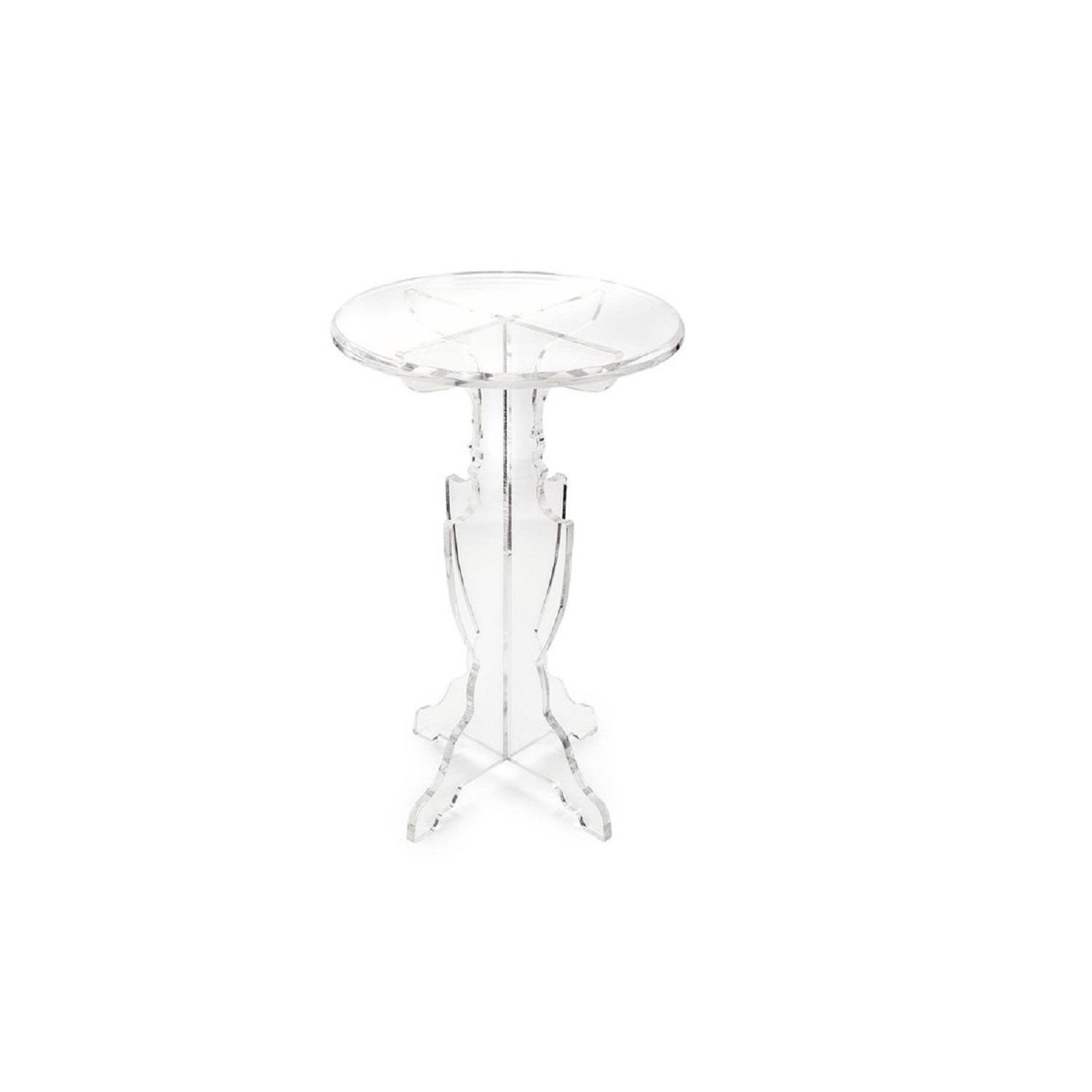 """29"""" Prestigious Transparency Crystal Clear Round Decorative Accent Table"""