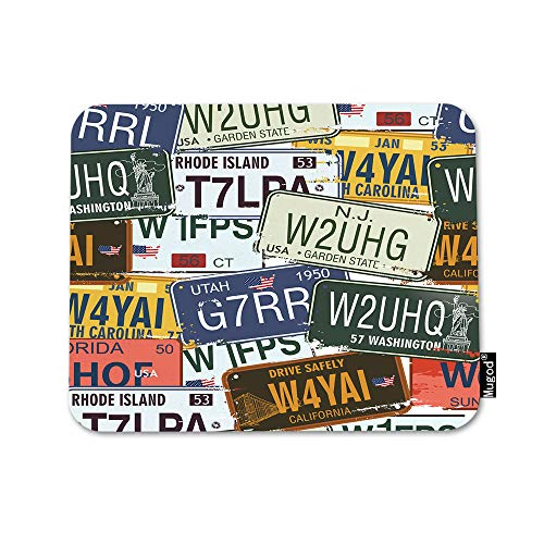 Mugod USA License Plate Mouse Pad Retro Car Plate Utah Washington Print Blue Green Mouse Mat Non-Slip Rubber Base Mousepad for Computer Laptop PC Gaming Working Office & Home 9.5x7.9 Inch
