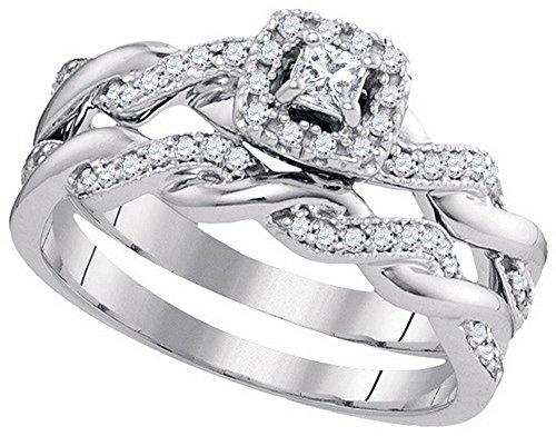 10k White Gold Princess Natural Diamond Womens Halo Bridal Wedding Engagement Ring Band Set 1/3 Cttw