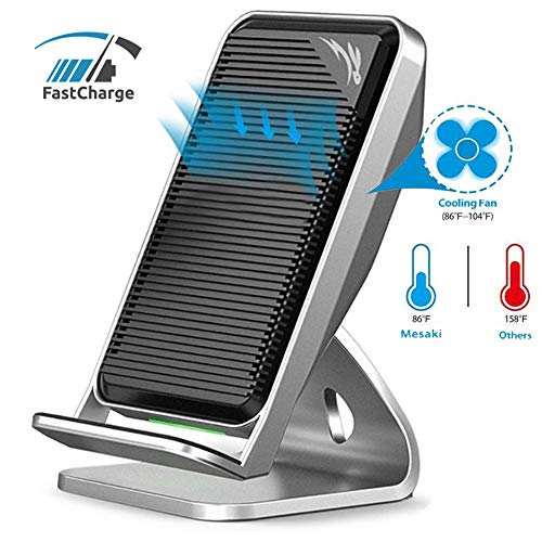 Fast Wireless Charger with Fan, Ultra Slim Cooling Fan Stand Pad Mat Wireless Charger for X 8 Plus S8 Plus S7 S6 Edge Plus Note 8 and All Qi Enabled Devices