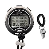 Stopwatches, Peleustech Multi-function Waterproof Electronic Digital Chronograph Time Stopwatch Timer and Stainless Steel Sports Coach Whistle with Spiral Bracelet