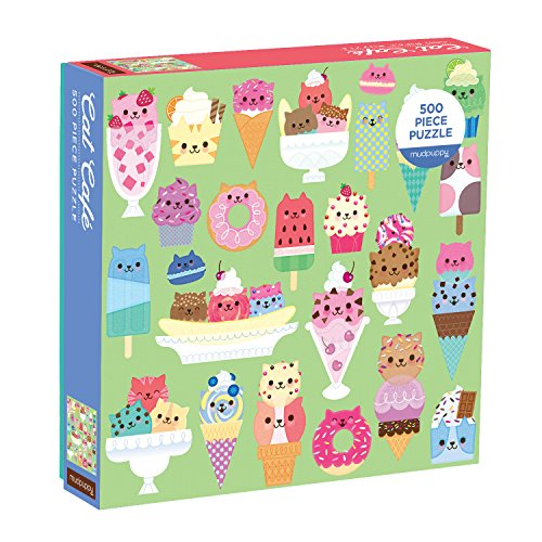 Mudpuppy Cat Cafe 500pc Puzzle - Finished Puzzle Measures 20 x 20 - Features Adorable whacky Illustrations of Adorable Cats as Colorful Desserts
