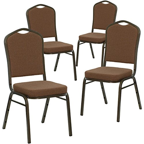 Flash Furniture 4 Pk. HERCULES Series Crown Back Stacking Banquet Chair in Coffee Fabric - Gold Vein Frame