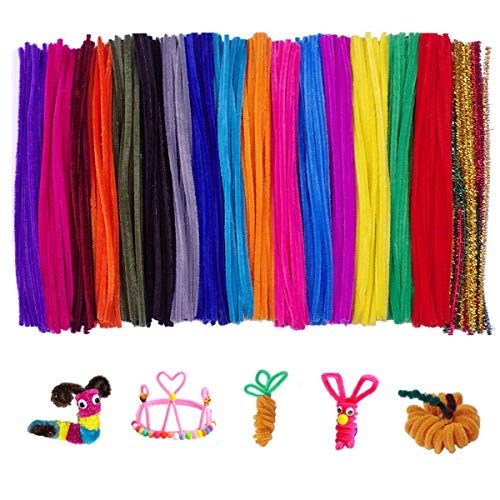 (300 Pcs Random Colors Pipe Cleaners Chenille Stems for DIY Art Supplies (6 mm x 12 inch))