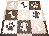 SoftTiles Kids Foam Playmats - Puppy Dog Theme - Children & Baby Non-Toxic Floor Tiles For Playrooms/Nursery (6.5' x 6.5') Brown, White, Tan SCDOGBWT