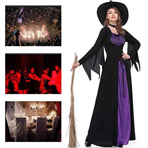 JH&MM Halloween Costume Women's Black Purple Queen Devil Witch Masquerade Costume,XL