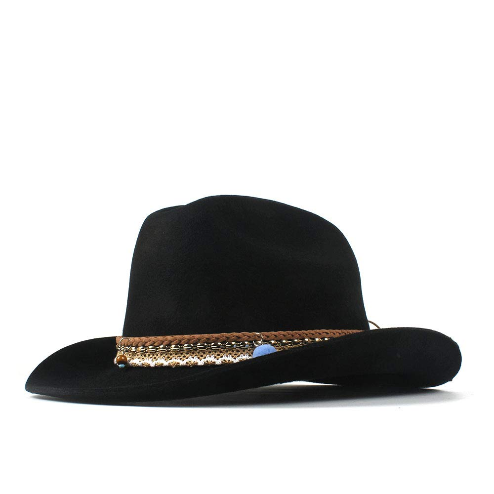 LL Women's Western Cowboy Hats Wide Brim Cowgirl Jazz Cap Leather Tassel Bohemia Band Roll-up Hat (Color : Black, Size : 56-59cm)