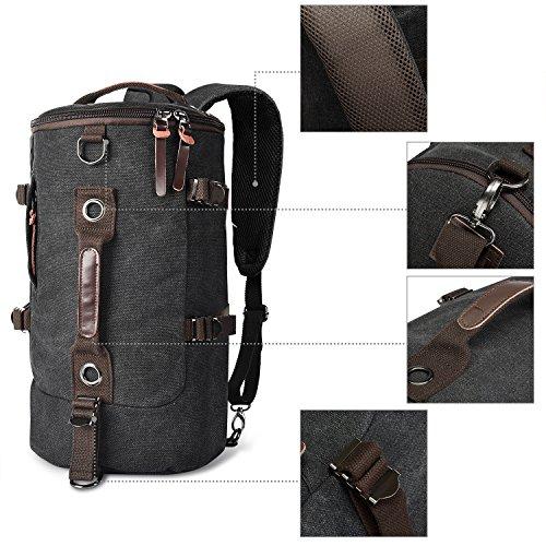 e3bd20b737 LUXUR Retro Duffel Cylinder Bag 26L Canvas Travel Backpack for Men Hiking  Luggage Weekend Bag