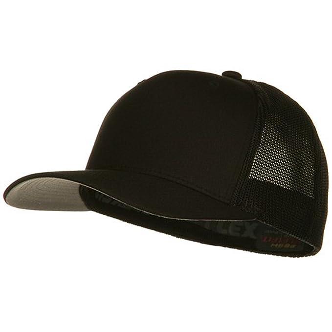 c0b69c2cb71a0e 6 Panel Trucker Flexfit Cap - Black at Amazon Men's Clothing store: Baseball  Caps