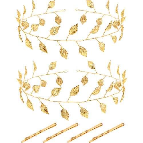 Halloween Costumes Greek Goddess Accessories (2 Pieces Gold Leaf Bridal Headpiece Headband for Halloween Greek or Roman Goddess Costume, Baby Shower, Photo Taking, Bride and Bridesmaid (15.7)