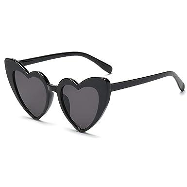 30f098d543 New Energy © Heart Shaped Retro Vintage Cat Eye Sunglasses 400 UV (Black)