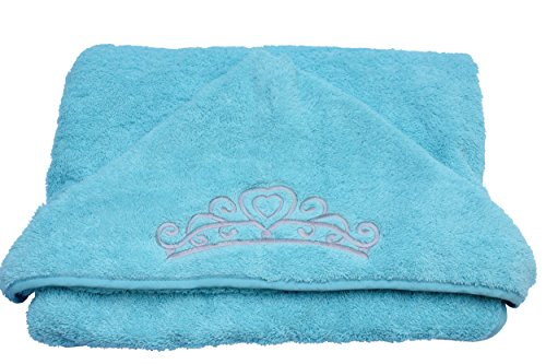princess hooded kid towel ice blue 27 5 x 49 plush and absorbent luxury bath towel 600. Black Bedroom Furniture Sets. Home Design Ideas